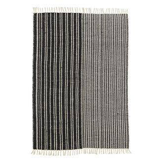 Madam Stoltz Katoenen vloerkleed zwart/wit gestreept