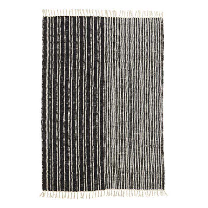 Madam Stoltz-collectie Striped handwoven cotton rug - Black, off white