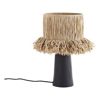 Madam Stoltz Tafellamp met raffia lampenkap en zwarte voet