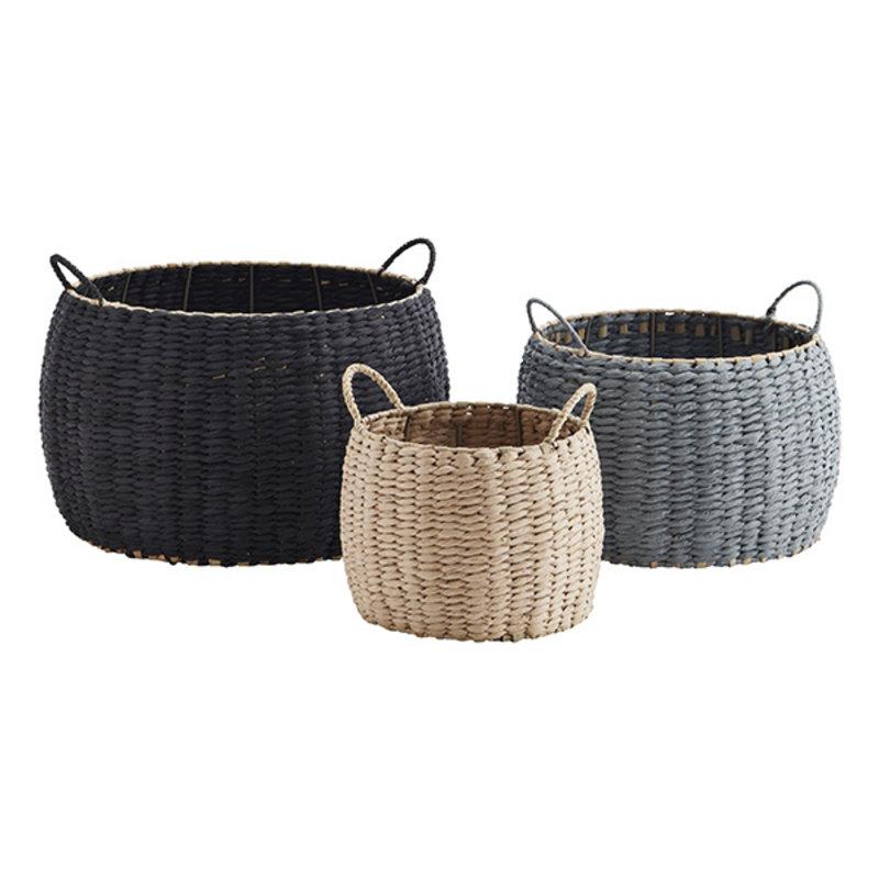 Madam Stoltz-collectie Paper rope baskets w/ handles - Natural, light blue, black