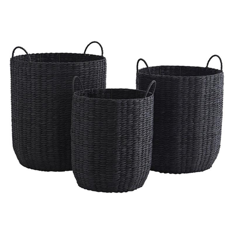 Madam Stoltz-collectie Paper rope baskets w/ handles - Black