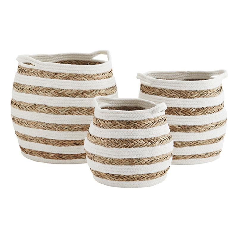Madam Stoltz-collectie Striped cotton rope baskets - Off white, natural