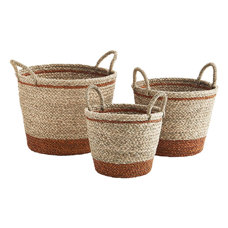Madam Stoltz-collectie Seagrass baskets - Natural, orange