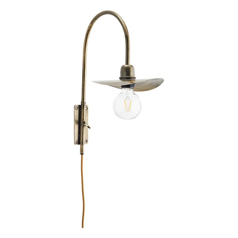 Madam Stoltz-collectie Metalen wandlamp antiek brass