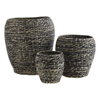 Madam Stoltz Zeegras manden zwart/naturel - set van 3