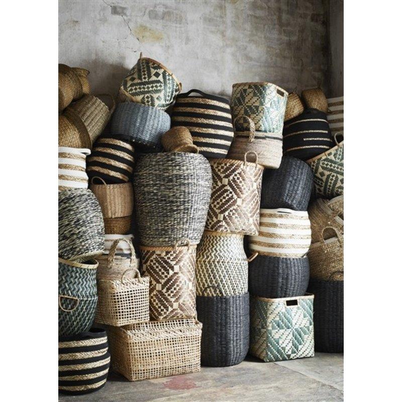Madam Stoltz-collectie Zeegras manden zwart/naturel - set van 3