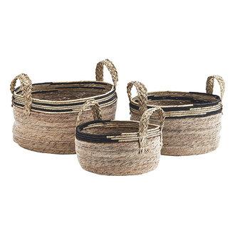Madam Stoltz Zeegras manden met jute handvaten naturel/zwart - set van 3