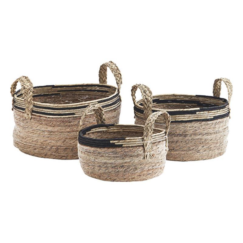 Madam Stoltz-collectie Zeegras manden met jute handvaten naturel/zwart - set van 3