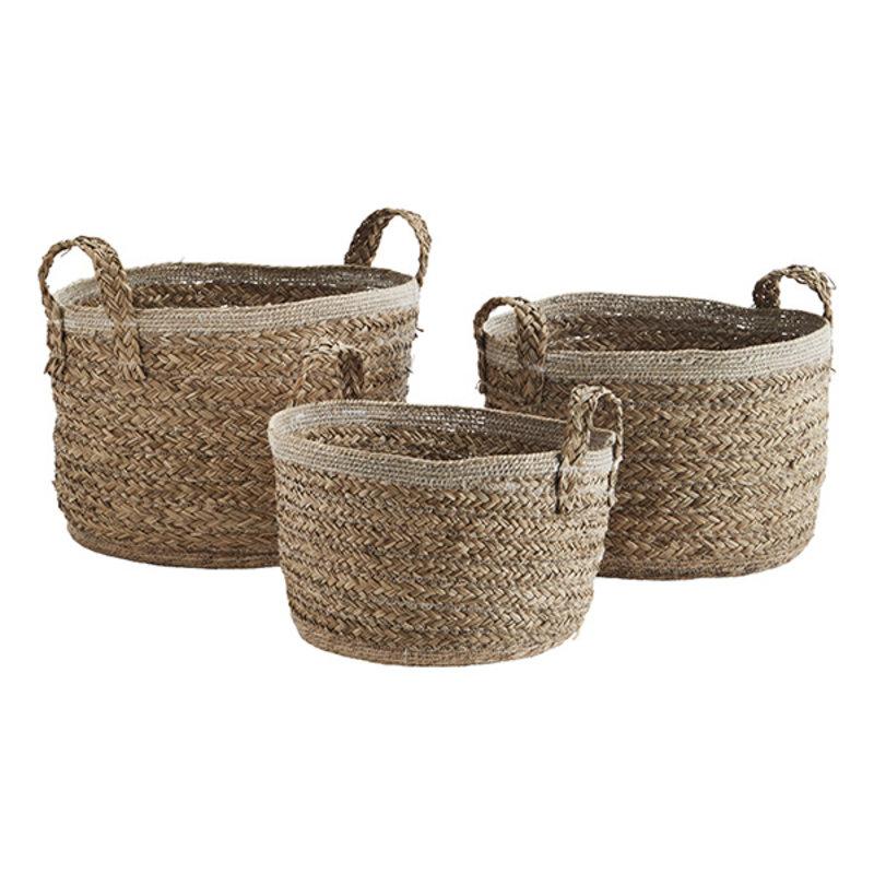 Madam Stoltz-collectie Zeegras manden met jute handvaten naturel - set van 3