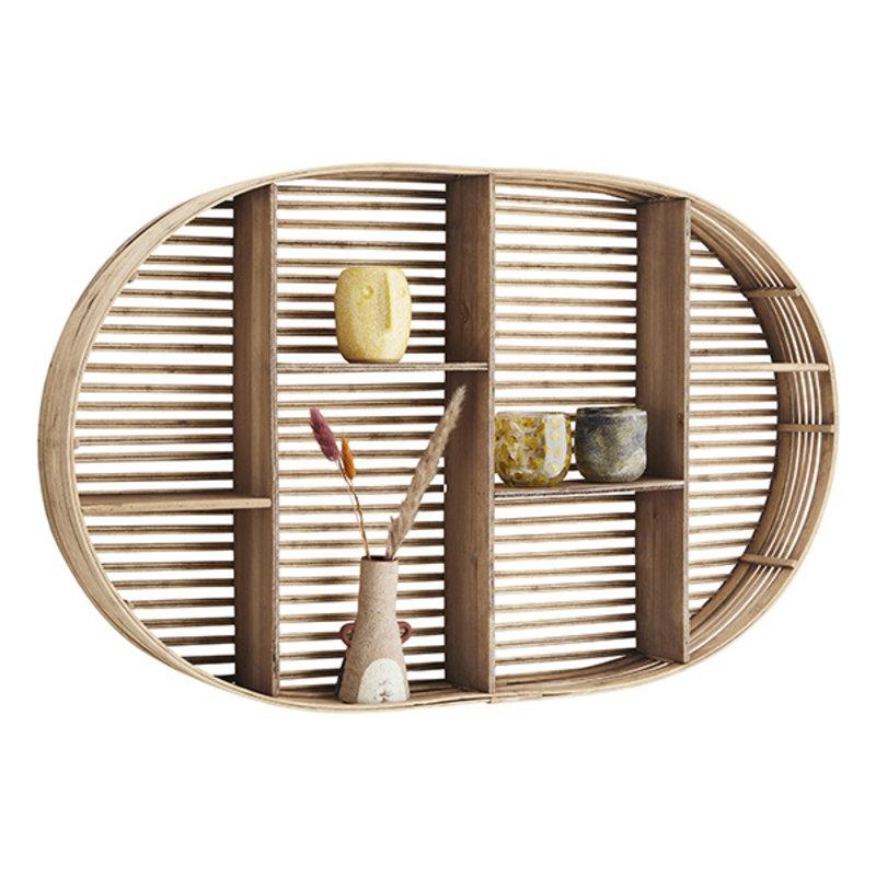 Madam Stoltz-collectie Oval bamboo shelf - Natural