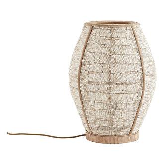 Madam Stoltz Bamboe tafellamp met linnen