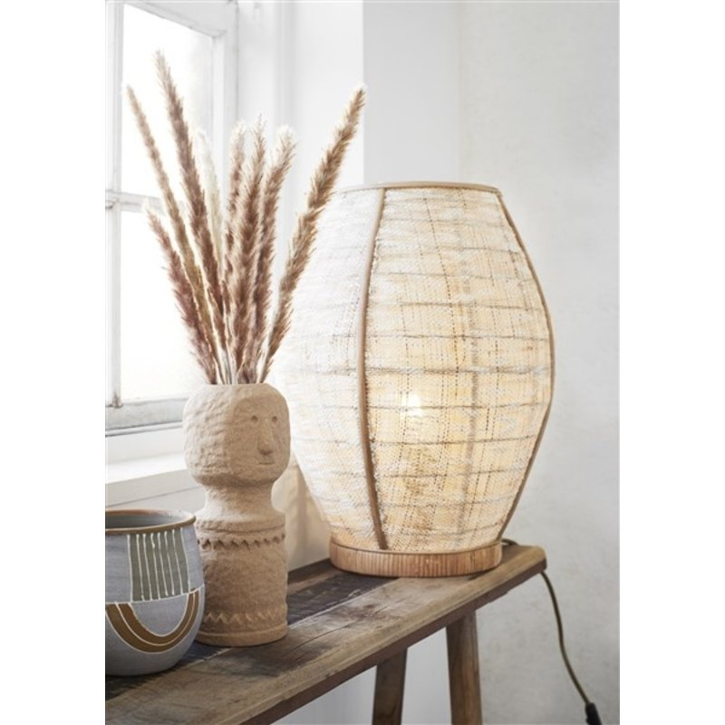 Madam Stoltz-collectie Bamboe tafellamp met linnen