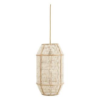 Madam Stoltz Bamboo ceiling lamp w/ linen - White, natural