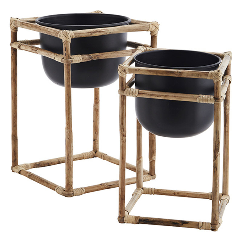 Madam Stoltz-collectie Bamboo flower pot stands - Natural, black