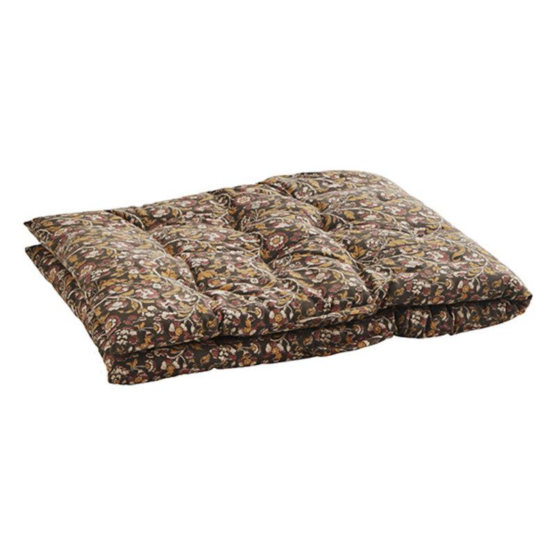 Madam Stoltz-collectie Printed cotton mattress - Iron, curry, burnt henna, sand