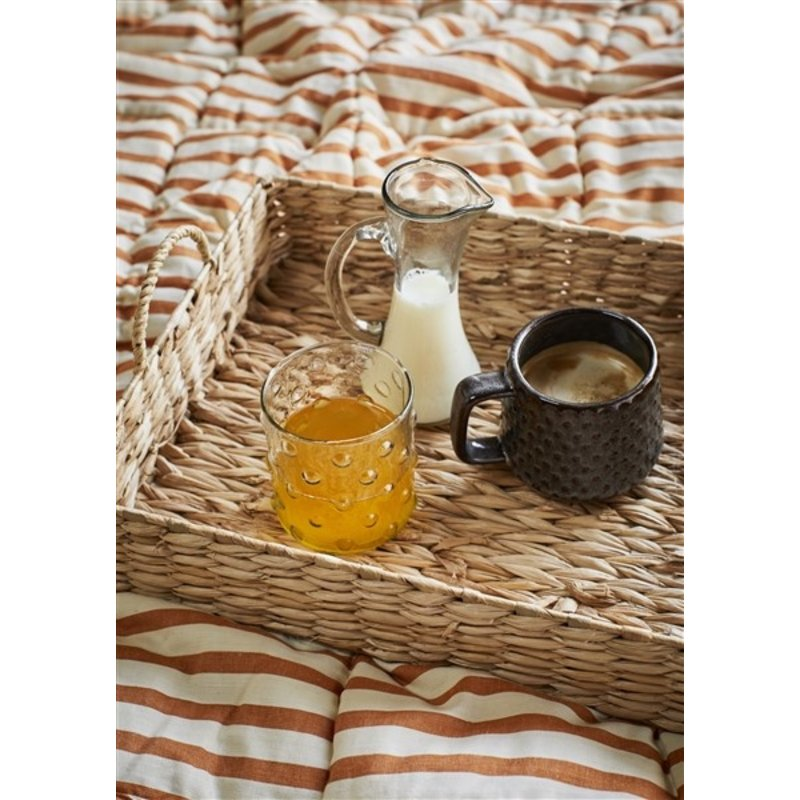 Madam Stoltz-collectie Printed cotton plaid w/ tassels - Off white, dark honey, black