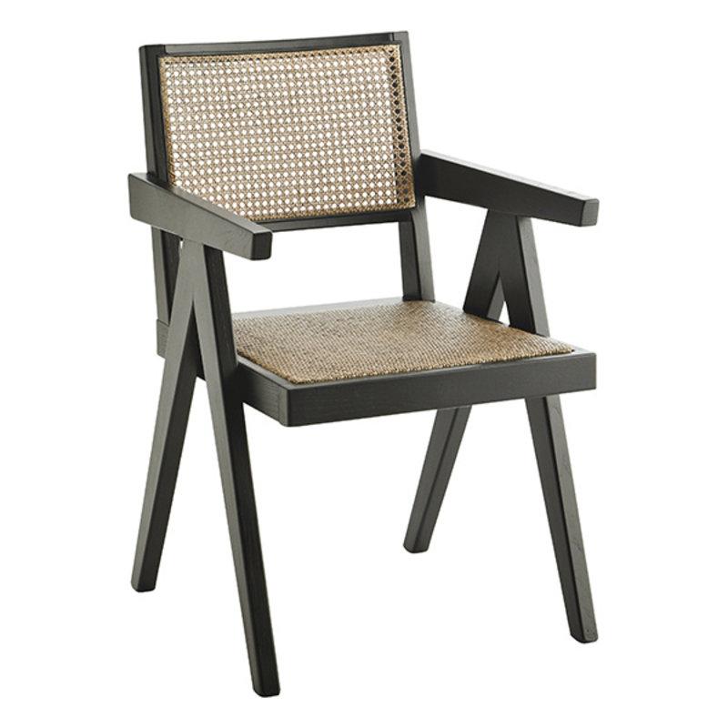 Madam Stoltz-collectie Wooden chair w/ rattan - Black, Natural