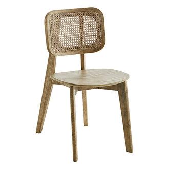 Madam Stoltz Wooden chair w/ rattan - Natural