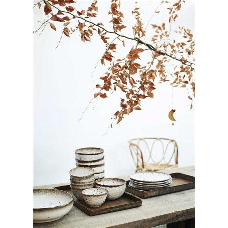 Madam Stoltz-collectie Stoneware serving bowl - White, brown