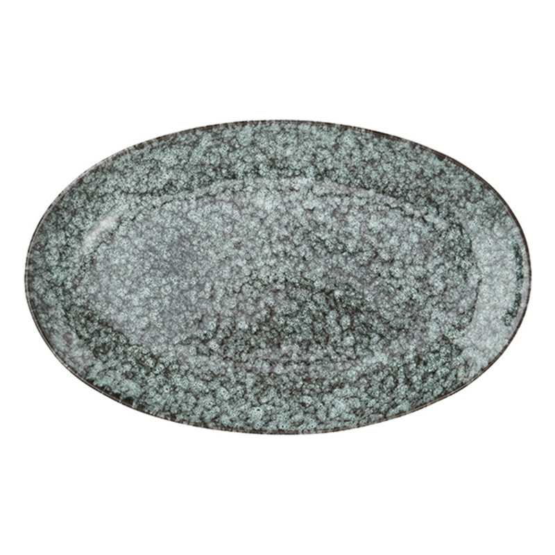 Madam Stoltz-collectie Oval serving dish - Light green, black