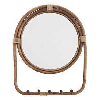 Madam Stoltz Mirror w/ rattan frame and hooks - Natural