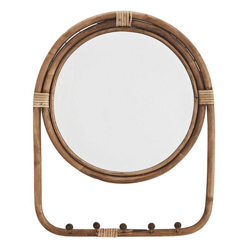 Madam Stoltz-collectie Rotan spiegel met 5 haken