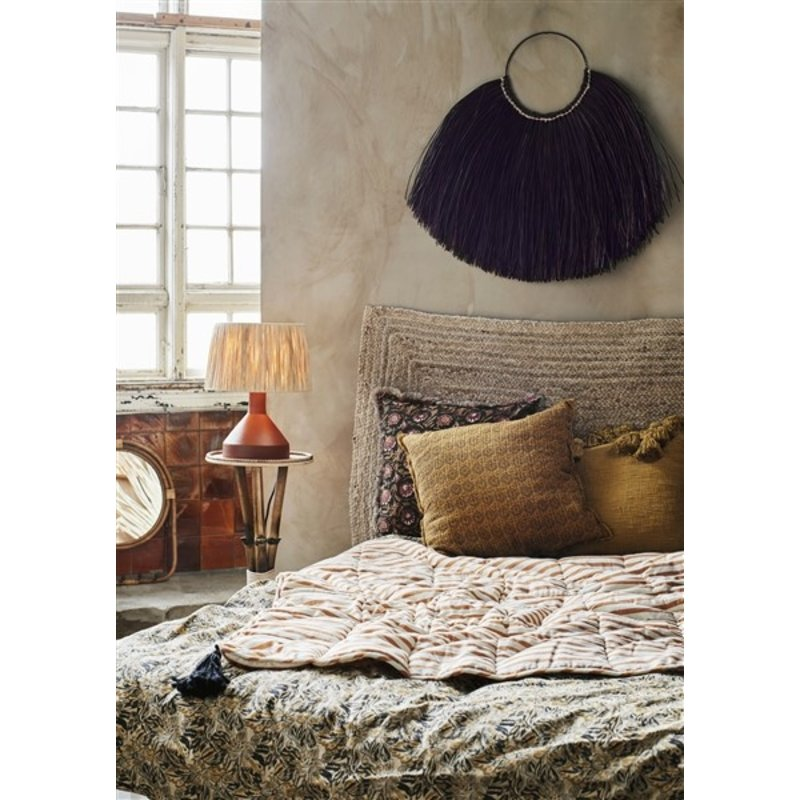 Madam Stoltz-collectie Mirror w/ rattan frame and hooks - Natural
