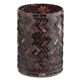 Madam Stoltz Glass votive w/ mosaic - Aubergine, ruby wine, rose