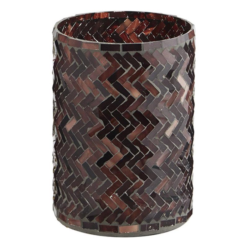 Madam Stoltz-collectie Glass votive w/ mosaic - Aubergine, ruby wine, rose