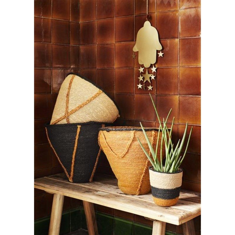 Madam Stoltz-collectie Seagrass basket w/ stitching - Black, burnt orange