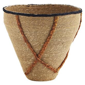 Madam Stoltz Seagrass basket w/ stitching - Natural, burnt orange