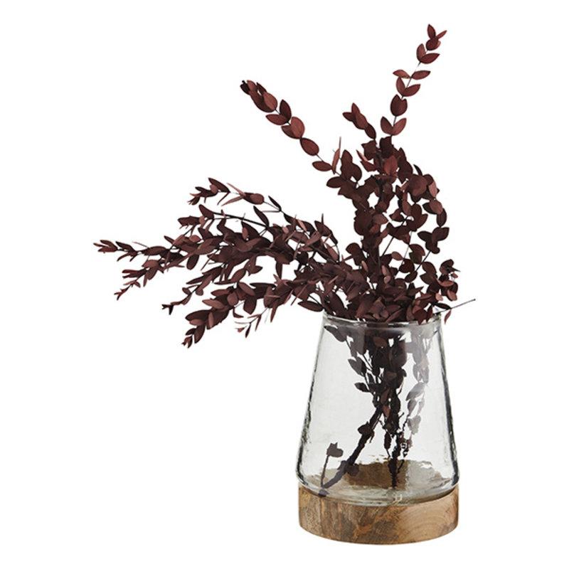 Madam Stoltz-collectie Glass vase w/ wooden base - Clear, natural