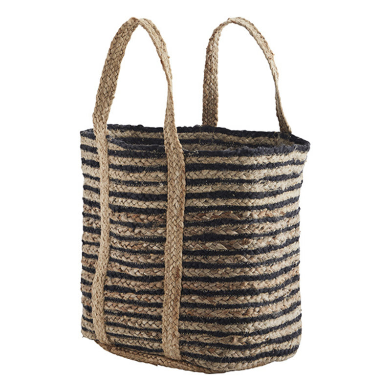 Madam Stoltz-collectie Striped jute braided bag - Natural, black