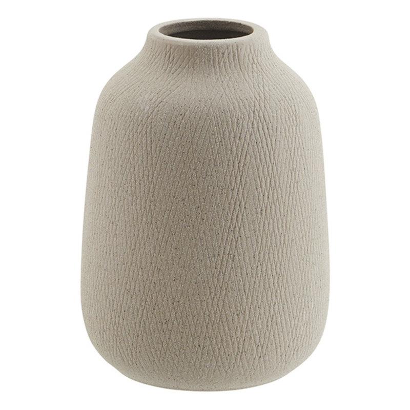 Madam Stoltz-collectie Stoneware vase - Matt grey