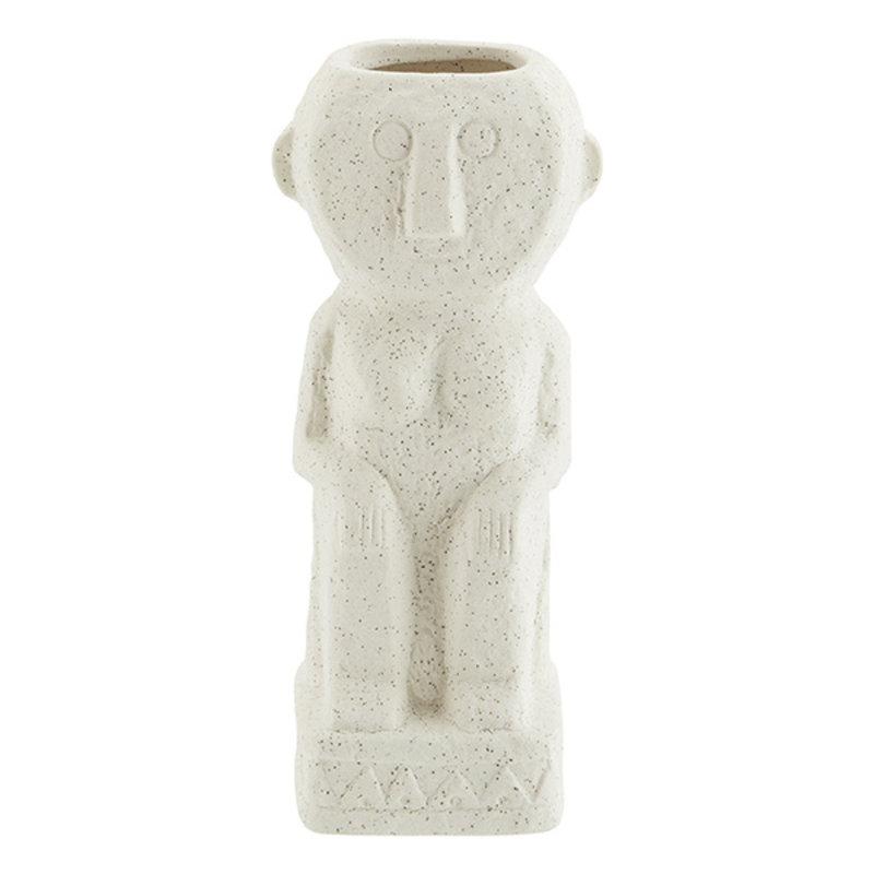 Madam Stoltz-collectie Stoneware vase w/ imprints - Matt off white