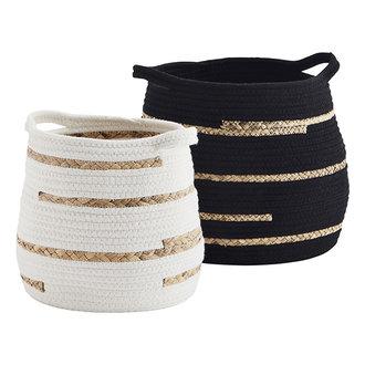 Madam Stoltz Cotton rope baskets - Black, off white, natural