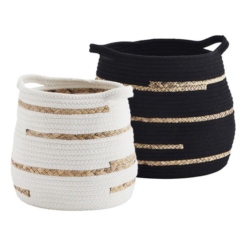 Madam Stoltz-collectie Cotton rope baskets - Black, off white, natural