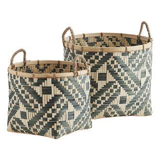 Madam Stoltz Bamboo baskets w/ handles - Green, natural