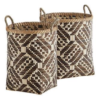 Madam Stoltz Bamboo baskets w/ handles - Brown, natural