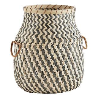 Madam Stoltz Bamboo basket w/ handles - Grey, natural