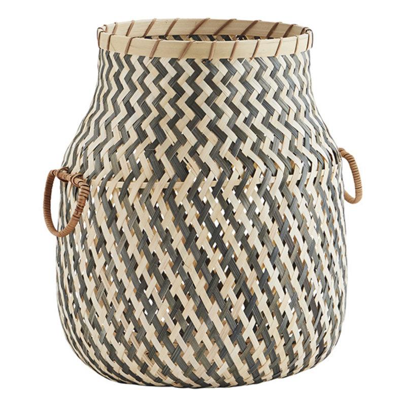 Madam Stoltz-collectie Bamboo basket w/ handles - Grey, natural