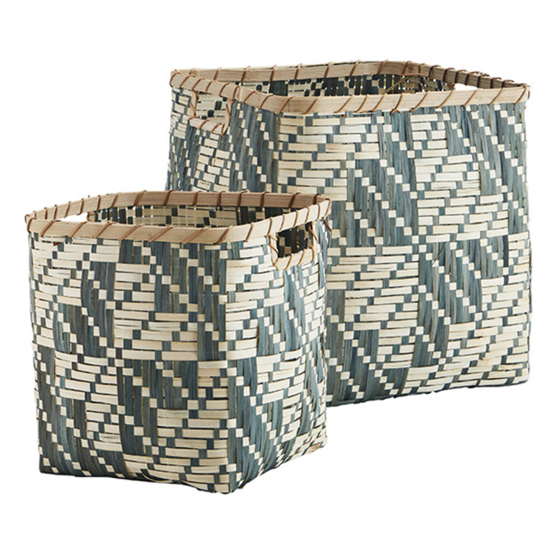 Madam Stoltz-collectie Square bamboo baskets - Ivy, natural