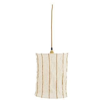 Madam Stoltz Linnen hanglamp gestreept offwhite/oranje