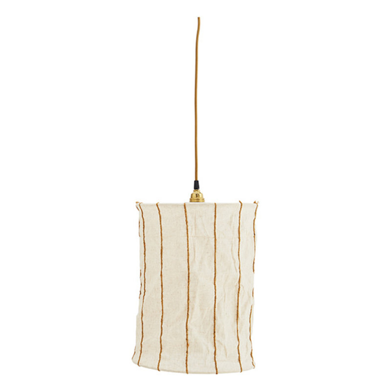 Madam Stoltz-collectie Striped linen ceiling lamp - Off white, sugar almond