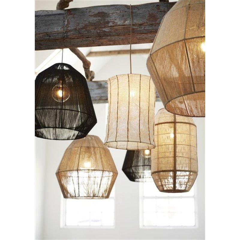 Madam Stoltz-collectie Linnen hanglamp gestreept offwhite/oranje