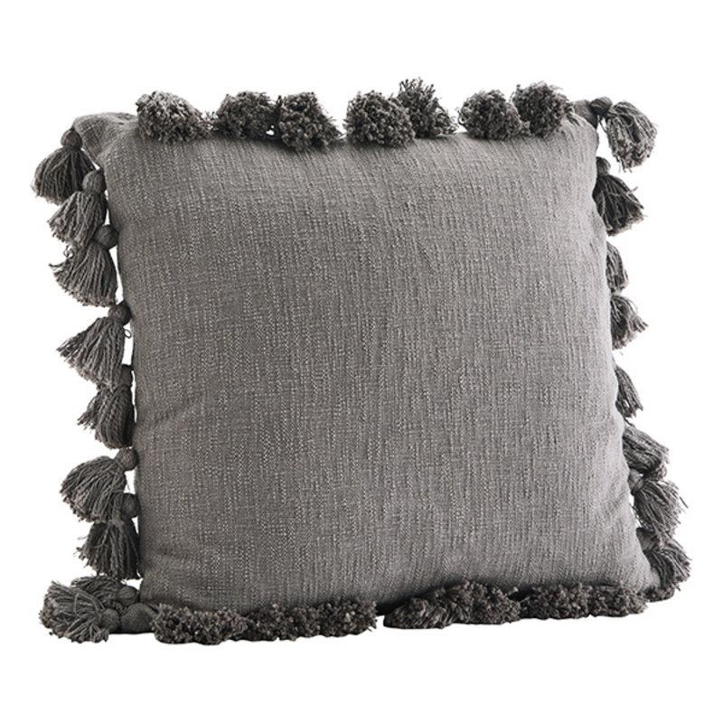 Madam Stoltz-collectie Kussenhoes met kwasten grijs