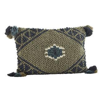 Madam Stoltz Cushion cover w/ tassels - Khaki, antracite, aqua, off white