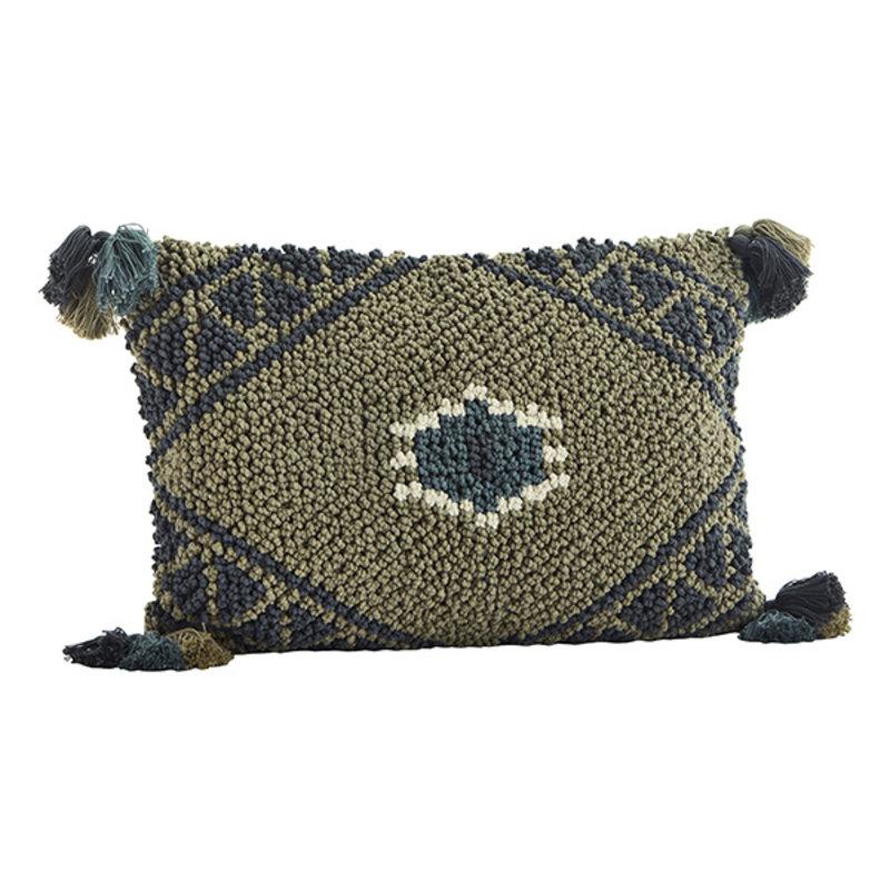 Madam Stoltz-collectie Handgeweven kussenhoes met kwastjes groen