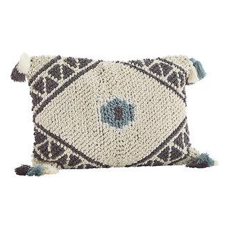 Madam Stoltz Cushion cover w/ tassels - Off white, aqua, brown