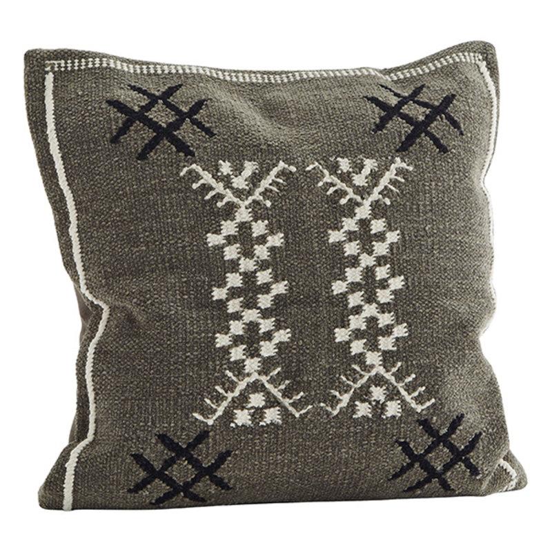 Madam Stoltz-collectie Chenille cushion cover - Dark taupe, off white, black